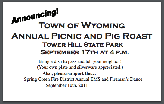 Annual Picnic & Pig Roast – Town of Wyoming, Iowa County, WI